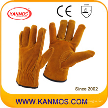 Industrial Safety Brown Cowhide Split Hand Drivers Leather Work Gloves (11201)
