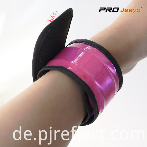 Reflective High Visible Fluo Pink PVC Slap Bracelet WB-JG007