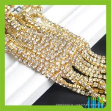 Súper cierre cadena de diamantes de imitación de oro chapado en cadena de latón ajuste de la cadena