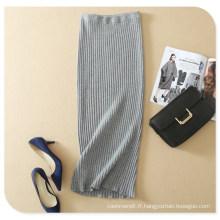 2017 printemps nouveau design solide couleur tricoté taille élastique jupe longue en taille