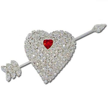 Rhinestone broche em forma de coração acessórios do casamento jóias