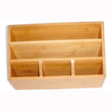 Customized for Bamboo Desk Organizer Bamboo stationery holder with 5 compartment export to Tokelau Factory