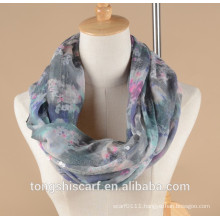 Lady's floral printed infinity scarf loop scarf with sequins decoration