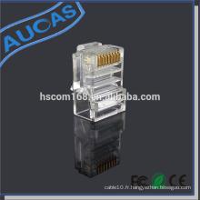 Connecteur modulaire rj45 de qualité Aucas pour terminateur de fiche de câble réseau