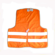 Orange Roadway Security Vest with two reflective stripes