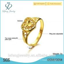 Prix de gros haut style poli antique anneau de mariage plaqué or bague de coeur