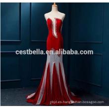 Cristal pesados vestidos de noche con cuentas de lujo de las señoras de noche largo vestido de desgaste