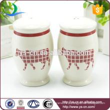 YSpp0009 Creme vermelho bezerro rodada forma sal e pimenta shaker para a Europa