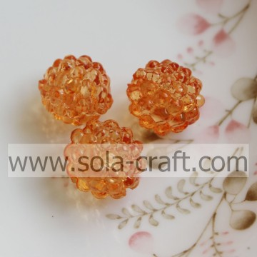 Handmade Fantastic Clear Plastic Crystal Berry Beads Orange Colo