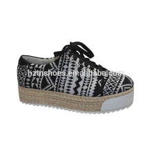 Lace up summer espadrille casual shoes women flat shoes