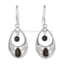 Smoky Quartz Natural Gemstone 925 Sterling Silver Earrings Wholesale Jewellery From India