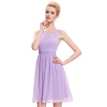 Starzz Acima de la rodilla sin mangas con cuentas de gasa luz púrpura vestido de fiesta corto de lila Prom Dresses patrones ST000076-1