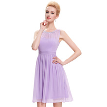 Starzz Above-Knee Sleeveless Beaded Chiffon Light Purple Party Dress Short Lilac Prom Dress Patterns ST000076-1