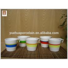 Taza de café de cerámica de alta calidad taza con silicona banda resistente al calor