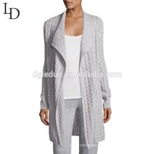 As mangas longas feitas sob encomenda abrem o casaco de lã da caxemira da camisola da mulher para senhoras
