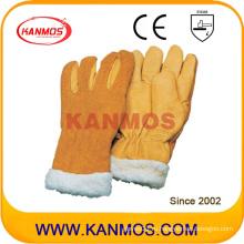 Рукавицы из перламутровой ткани с защитной перчаткой из желтой телячьей кожи (12308)