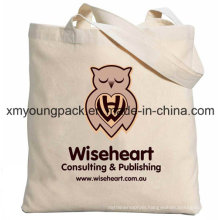 Promotional 100% Natural Cotton Long Handle Tote Calico Bag
