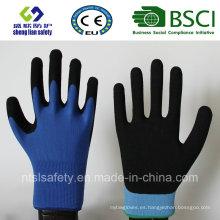 Revestimiento de nylon de calibre 13, revestimiento de nitrilo, guantes de trabajo de seguridad de acabado de arena (SL-NS105)