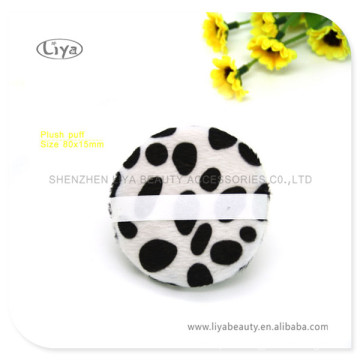 Round Leopard Plush Puff for Face and Body