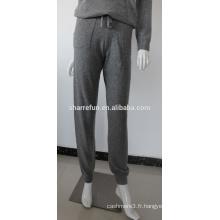 12gg femmes tricotées pur pantalons en cachemire avec poche