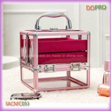 Rosa de alumínio moldura caixas de armazenamento de maquiagem acrílico (sasc053)