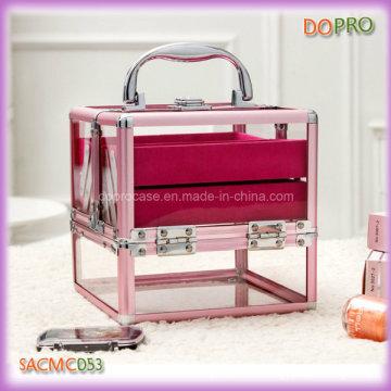 Pink Aluminum Frame Acrylic Makeup Storage Boxes (SACMC053)