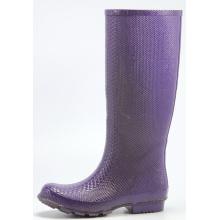 Purple Women's Snakeskin Rubber Rain Boots
