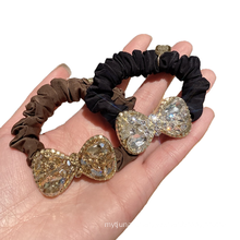 Korean Rhinestone Bow Knot Scrunchies Hair Tie Elastic Band Ring Cute Girl Ponytail Head Rope Rubber Female Fashion Accessories