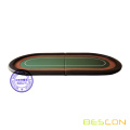 Folding poker table top with faux leather covered bumper surround and racetrack