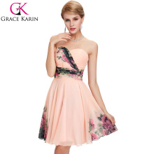 2015 Grace Karin Hot Sale Short Floral Prints Flower Plus Size Bridesmaid Dresses For Fat Women CL7501
