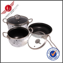 3 PCS Kitchenware Enamel Cookware Set Sauce Pan