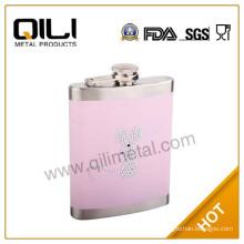 Colored hip flask with acryl diamond