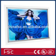 Sola cara publicidad caja de luz delgada del cristal a4 de LED