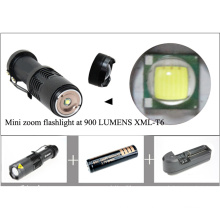 900 Lumens Brightness CREE T6 LED Mini Zoom Flash Light