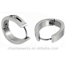 Brincos de aro de cristal claro de aço inoxidável 316L 2013 HE-008