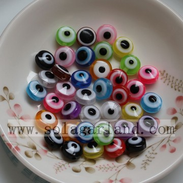 7 * 10MM Resin Evil Eye Beads Met 1.5mm Hole