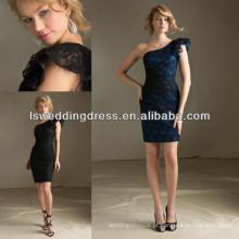 HB2034 Laço um ombro de comprimento de chá de manga longa vestidos de dama de honra