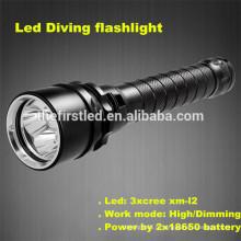 Haute qualité Cree xm-l2 LED super brillant équipement de plongée caché lumière de plongée lumière led rouge