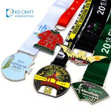 China manufacturer custom blank metal enamel christmas run medallion sports running marathon 5k medal with ribbon