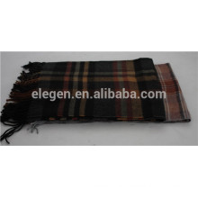 100%Wool checks gradient scarf with Fringe
