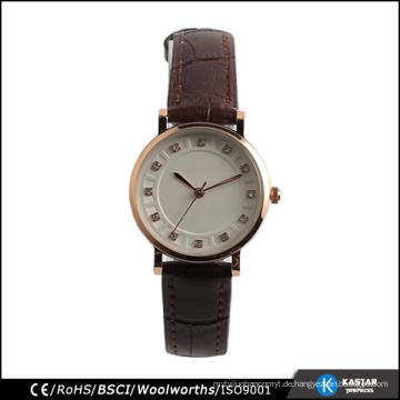 Art und Weiselederarmbanduhrquarzdame-Uhrsteine