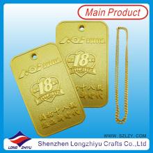 Etiqueta de perro rectangular personalizada del metal de la etiqueta de perro del oro (lzy00134)