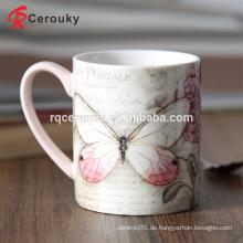 Vollfarbiger bedruckter Schmetterling 12oz Keramik Porzellan Becher