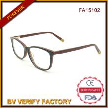 Nueva tendencia gafas de lujo moda mujeres acetato diseñador gafas de China (FA15102)
