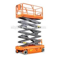 Self propelled electric hydraulic scissor lift used in shopping malls
