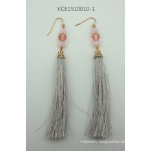 Fabric Earring with Metal Fashion Jewelry