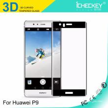 2016 Anti-Fingerprint 3D 0.26mm protetor de tela de vidro temperado para Huawei P9