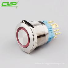 CMP 25mm metal impermeable iluminado 1NO1NC pulsador interruptor de corriente