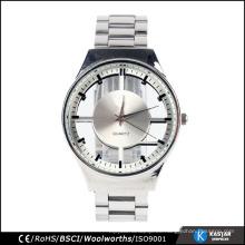 Cara transparente del reloj de la venda del acero inoxidable de los hombres