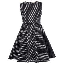 Kate Kasin Mädchen-Sleeveless runder Ansatz Weinlese-Retro Baumwollschwarz-Kleid-Weiß punktiert Sommer-Kleid KK000250-19